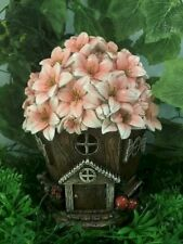 Fairy Garden-House with Pink Floral Roof/Light