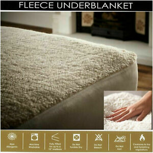 """Fleece Underblanket Mattress Protector Cover Extra Deep 30cm/12"""" Fitted Sheet"""