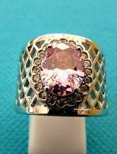 925 Silver Ring With Natural Pink And White Topaz Size P US 7.75  (rg2543)