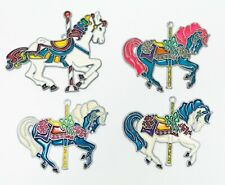 4 Faux Stained Glass Carousel Horse Suncatcatcher Christmas Hanging Ornament