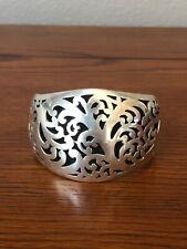 Sterling Silver Filigree Design Wide Cuff Bracelet