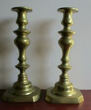 More details for pair of victorian brass candlesticks