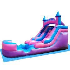 Inflatable Wet Dry Slide 13'H Pink-Blue Kids Water Slide Pool With Blower & Tarp