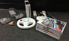 NINTENDO WII WHITE SYSTEM BUNDLE WITH 5 GAMES (NASCAR Unleashed, etc)