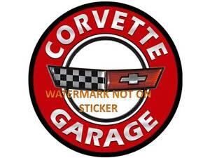 VINTAGE CHEVY CORVETTE  GARAGE  DECAL STICKER LABEL LARGE DIA 240 MM HOT ROD