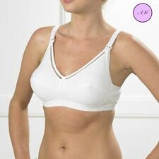 Wire Free White Cotton Nursing Maternity Breastfeeding Bra with Drop Cups