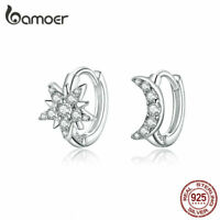BAMOER S925 Sterling silver Stud Earrings Moon & star With CZ For Women Jewelry
