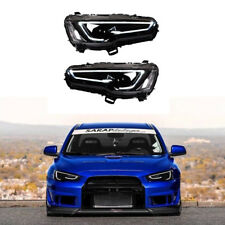 Audi Style Blackout Headlights For Mitsubishi Lancer / EVO X 08-17 Bi-Projector