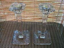 Pair 1940s Art Deco Style Solid Crystal Square Columnar Taper Candle Holders
