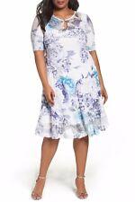 NWT KOMAROV Lavender Floral Keyhole Chiffon Neck Crinkle A-Line Dress 3X $328