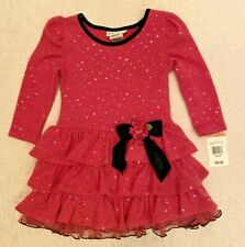 NWT $60 Bonnie Jean Pink/Black Ruffled Dress Toddler Girls 3T