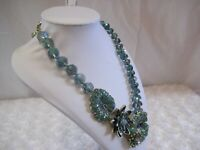 "Heidi Daus ""Water Lily"" (Aqua AB) Beaded Necklace (Orig.$339.95)-LAST ONE!!!!"