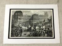 1853 Print Tuileries Palace Paris France French Military Parade Original Antique