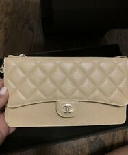 Chanel Wristlet Caviar Iridescent Beige Limited Edition, Brand New, Gold Metal