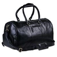 Genuine Leather Travel Weekender Bag 21 inch Black Duffle Gym Bag large Unisex