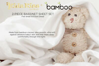 Kidz Kiss Bamboo 2 Piece Bassinet / Cradle Sheet Set - Silky Soft, Lightweight