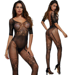 Women sexy Bodystocking Lingeries Bodysuits crotchless Catsuit Nightclub Costume