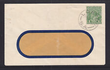 "1928  1d GREEN   KGV  ON WINDOW FACE COVER WITH GREAT ""LOXTON"" STRIKE."
