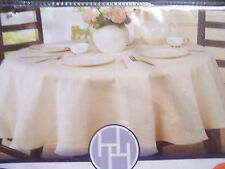 "NEW creamy TABLECLOTH JACQUARD fabric 70"" round table cloth off white NIP"