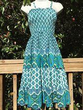 New_Boho Tiered Smocked Cotton Dress_Blue/Turqoise/White Print_Sizes S/M, M/L