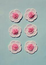 6 Iron On White Lace Flower Patches With Pink Satin Roses - IR6