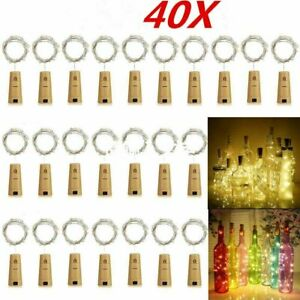 40Pack Wine Bottle Cork String Lights 20 LED Night Fairy Light Outdoor Wedding