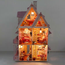 1 Set Doll House Wooden Cottage with Furniture Construction Kids Girl Play Resin