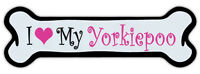 Pink Dog Bone Shaped Magnet - I Love My Yorkiepoo - Cars, Trucks, Refrigerators