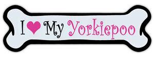 Pink Dog Bone Shaped Magnet - I Love My Yorkiepoo - Cars, Trucks, Refrigerators