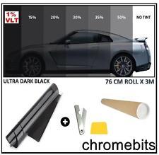 CAR VAN OFFICE BUS WINDOW TINT FILM TINTING ULTRA DARK BLACK LIMO 1% 76cm x 3M