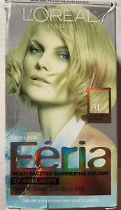 Loreal Feria Shimmering Permanent Hair Color 91 LIGHT BEIGE BLONDE 3X Highlights