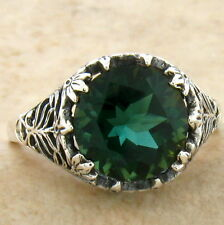 SIM EMERALD .925 STERLING FILIGREE ANTIQUE VINTAGE STYLE SILVER RING SIZE 8,#779