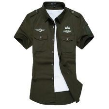 Army Mens Military Short Sleeve Work Shirt Jacket AIRBORNE 100%Cotton Large Size