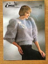 """Emu Knitting Pattern: Ladies Mohair Sweater, 30-40"""", 4093"""
