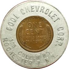 Vtg. Chevy Car Dealer 1948 Encased Cent Token Cool Chevrolet Rochester New York
