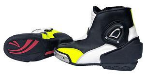 Motorradstiefel kurze Racing Boots ATROX Motorrad Lederstiefel Schwarz Neongelb