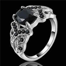 oval Jewelry Black Sapphire Wedding Ring Women's white Rhodium Plated Size 7