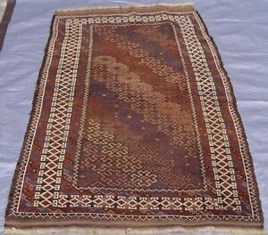 """Antique Tribal Hand-Knotted 100% Wool Oriental Rug Brown 2'10"""" x 4'9"""""""