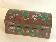 "New ListingCloisonne Hinged Chest Russet Floral 6"" X 3.5"" X 2.5"". Antique Vintage"