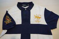 Polo Ralph Lauren White Blue Embroidered Short Sleeve Polo Shirt Sz L