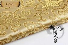 Chinese Satin Faux Silk Fabric Floral Brocade Dress Clothes Cheongsam Retro Gold