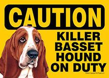 Killer Basset Hound On Duty Dog Sign Magnet Hook & Loop Fastener 5x7
