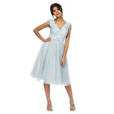 Chi Chi London Lace Floral Embroidered Prom Dress 16 18  20  22 Light Blue