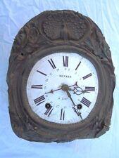 Horloge mouvement mécanique comtoise pendule 3 aiguilles d'époque 19eme