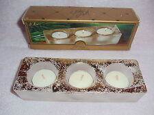 Lord & Taylor Frosted Glass Tea Light Holder & 3 Tealights- Gold - Bridal - NEW