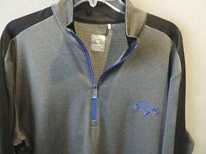 Mens Callaway Golf Gray Weather Series 1/2 Zip Pullover Sweater SZ L Quick Ship