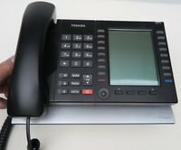 (5) Toshiba IP IP5531-SDL phones 20 button telephone corded handsets & Stands