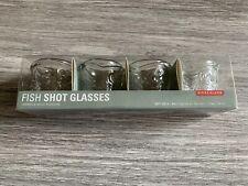 Kikkerland Shot Glasses, Fish, Clear