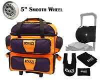 KAZE SPORTS 4 Ball Double Decker Bowling Bag Roller Tote Joey Add On Spare Set
