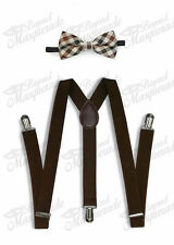 Dark Brown Suspender and Bow Tie Set for Adults Men Women Teenagers (USA)
